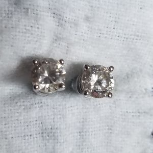 Diamonique Sterling Silver Stud Earrings